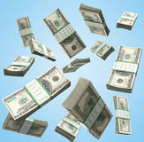 Flying a pack of dollar bills 3d render on blue background Stock Photo