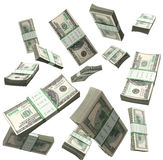 Flying a pack of dollar bills 3d render on a white background Royalty Free Stock Photography