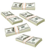 Flying packs of dollars money isolated Royalty Free Stock Photo