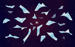 Flying pages in the night sky stock illustration