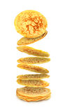 Flying Pancakes On The Stack Royalty Free Stock Images