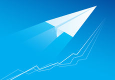 Flying Paper Airplane royalty free illustration