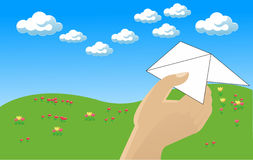 Flying a paper airplane. Throw a paper plane to sky Stock Photography