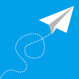 Flying paper airplane on blue. Vector illustration of white flying paper airplane on blue sky. Big size Royalty Free Stock Photo