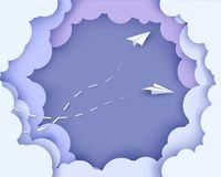 Flying paper airplanes on clouds background. Paper cut style. Vector illustration. Paper cut style. Vector illustration royalty free illustration