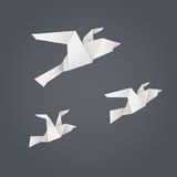 Flying paper birds Stock Image