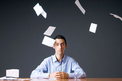 Flying paper and businessman Stock Photos