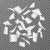 Flying paper document sheets. Falling 3d white blank page papers vector illustration isolated. Paper white page, document sheet empty blank Stock Photo