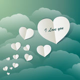 Flying Paper Hearts In A Vintage Blue Sky Stock Photo