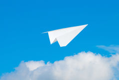 Flying paper plane Royalty Free Stock Photo