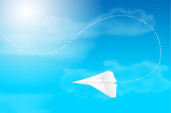 Flying paper plane with background of blue sky. Clouds and sun - vector illustration Royalty Free Stock Image