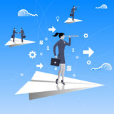 Flying on paper plane business concept Royalty Free Stock Photo