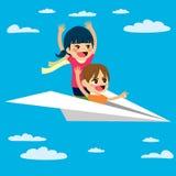 Flying Paper Plane Children Stock Image