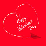 Flying paper plane. Dashed heart in the sky. Happy Valentines Day Greeting card. Flat design. Red background. Isolated. Royalty Free Stock Photo