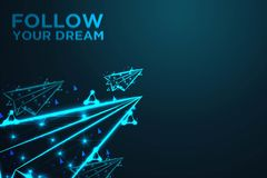 Flying paper plane, follow your dream, Abstract shark form lines and triangles, , Abstract wire low poly, Polygonal wire frame mes. H looks like constellation on vector illustration
