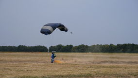 Flying on a parachute stock footage