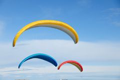 Flying parachute in the sky Stock Photos