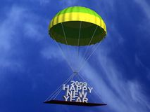 Flying parachute with text Stock Photography