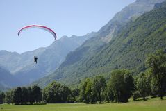 Flying paraglider. In the mountains Stock Photography