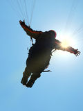 Flying. A paraglider in the air soon after take-off Stock Photography