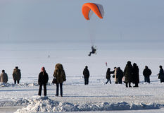 Flying paraglider in the winter. Flying paraglider.Winter holiday in Arkhangelsk Royalty Free Stock Image