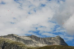 Flying Paragliders Stock Photography