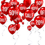 Flying party balloons with text SALE and discount Stock Images
