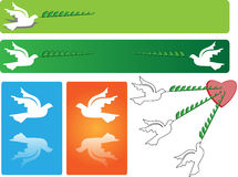 Flying peace dove banner. A flying peace dove in different styles on banner Royalty Free Stock Image