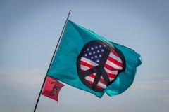Flying the Peace Flag, Port Aransas Texas Stock Image