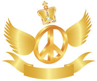 Flying Peace Symbol with Crown Jewels Illustration Royalty Free Stock Images