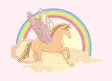Flying pegasus. Vector hand drawn illustration in soft pastel colors. Pink magic flying horse in golden skies. Rainbow on background Royalty Free Stock Images