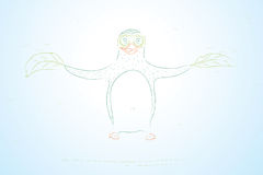 Flying penguin. Hand draw conception. Vector illustration Stock Photos