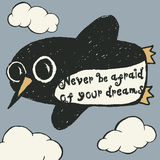 Flying penguin hand drawn typography poster. Stock Image