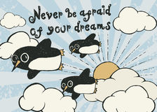 Flying penguin hand drawn typography poster. Stock Images