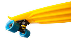 flying penny skateboard, bottom view on white Royalty Free Stock Images