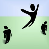 Flying Person Jumps Leaps in Celebration. An international symbol person leaps high in the sky, jumps in celebration, excitement, extreme health and vitailty Royalty Free Stock Photos