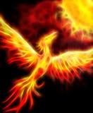 Flying phoenix bird as symbol of rebirth and new beginning. Fractal effect. vector illustration