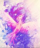 Flying phoenix bird as symbol of rebirth and new beginning, marble effect. royalty free illustration