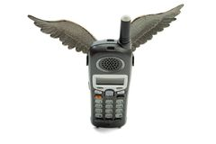 Flying phone Stock Images