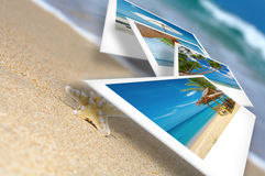 Flying photo. Tropic beach theme collage composed of few photos Stock Photography