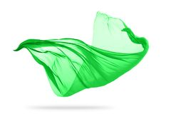 Flying piece of coloured cloth on white background royalty free stock photography