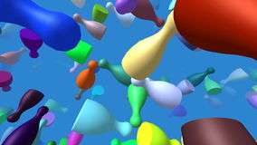 Flying pieces generated 3D video stock video