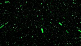 Flying pieces in green on black stock video footage