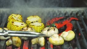 Flying pieces of vegetable from grill grid.Garlic and chili pepper are turned over with iron tongs on the grill stock footage