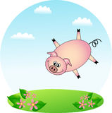 Flying pig. Cute flying pig for your greeting card Royalty Free Stock Images