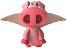 Flying pig. Cute pink happy pig, 3d generated Royalty Free Stock Photography