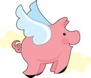 Flying Pig. Little pig flying with wings Stock Images