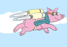 Flying pig. Cartoon illustration of pig with jet pack Stock Images