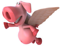 Flying pig. Cute pink happy pig, 3d generated Stock Images