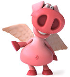 Flying pig. Cute pink happy pig, 3d generated Royalty Free Stock Photo